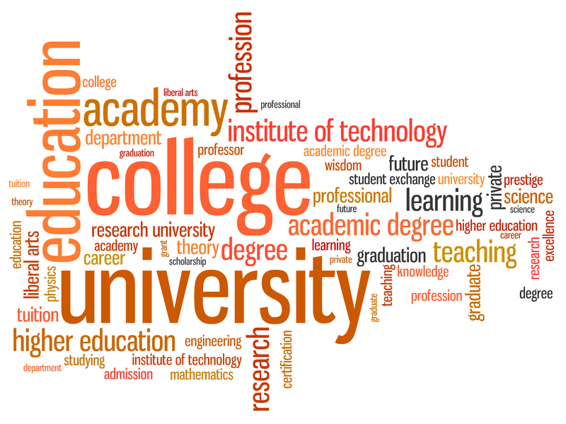 University and college education word cloud illustration. Word collage concept.