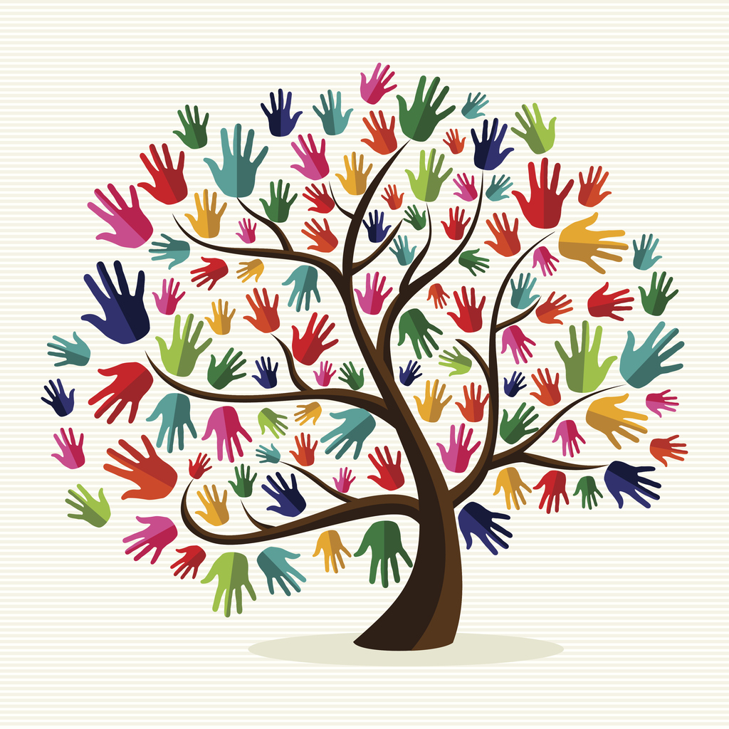 Diversity tree hands illustration background. Vector file layered for easy manipulation and custom coloring.